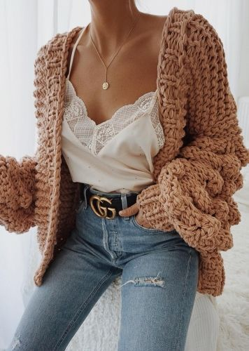 Photo of Oversize Balloon Sleeve Knit Cardigan ( in 5 Colors )