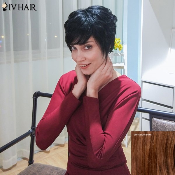 33.96$  Buy here - http://diik6.justgood.pw/go.php?t=206809705 - Siv Hair Layered Short Oblique Bang Straight Human Hair Wig 33.96$