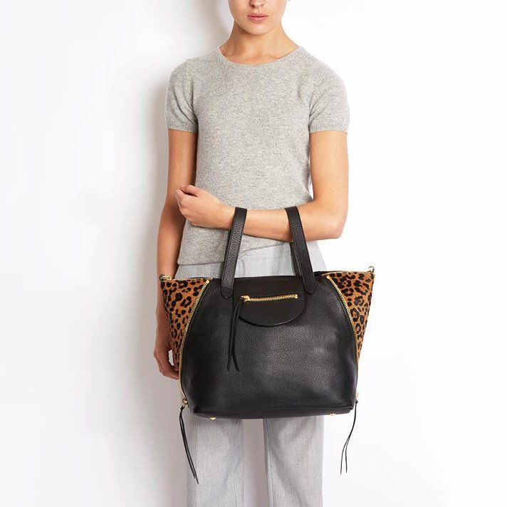 Fancy - Utility Black & Cheetah Bag by meli melo