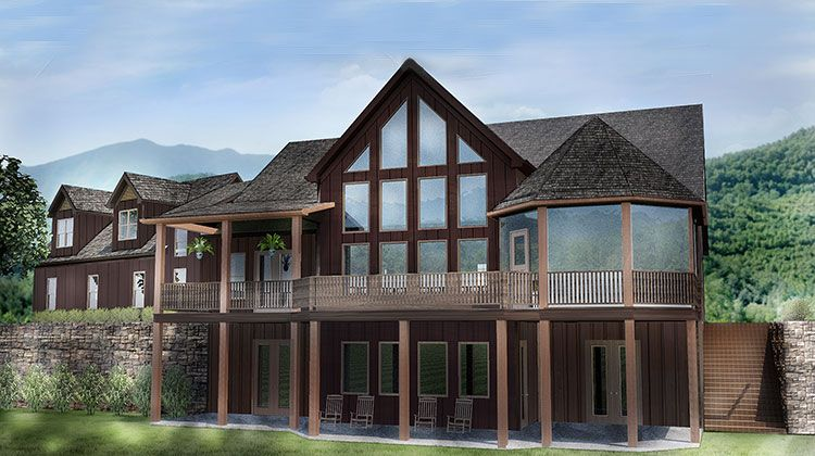 Open House Plan With 3 Car Garage Cabin Lake Cottage Pinterest