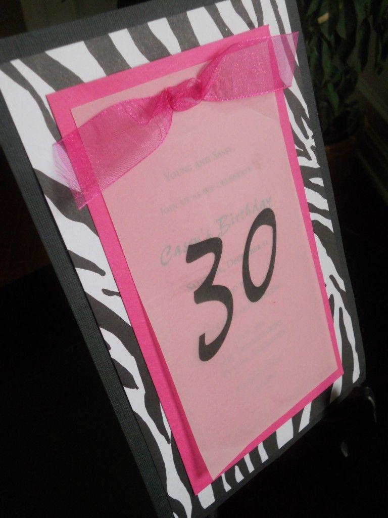 30th Birthday InvitationFuchsia Black Zebra Print