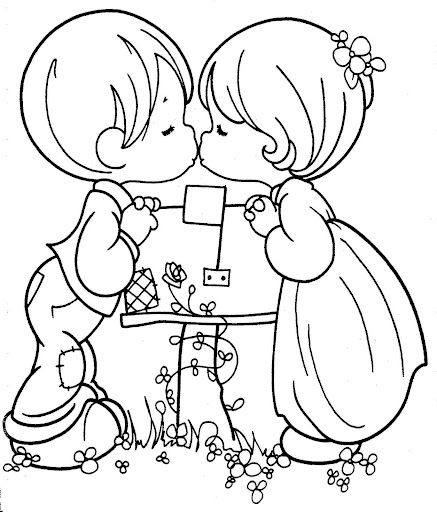 Kissing Couple Precious Moments Free Printable Page Precious