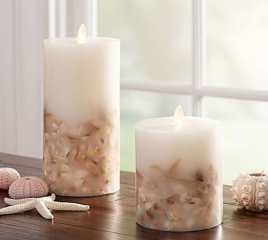 "Pottery Barn Flameless Candles Inspiration Flickering Flameless Seashell Pillar 4 X 45""  Wax Florida"