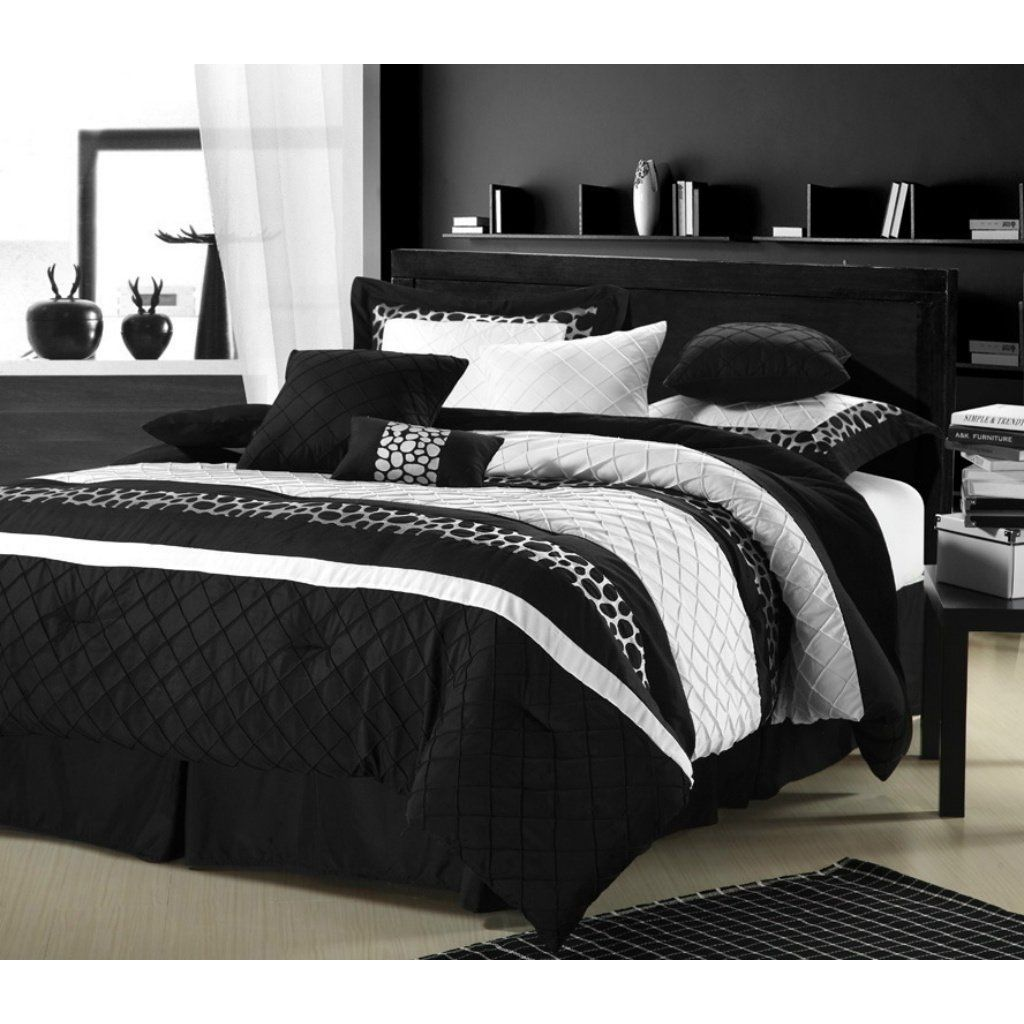 Bed sheet set black and white - Black Bedding A Striking Statement Of Contrasts The Duchess Nine Piece Comforter Set Combines Crisp White