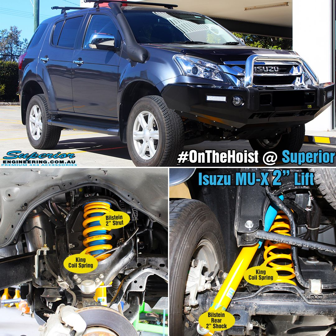 This Mu X Has Been Fitted With A 2 Inch Lift Kit Whilst On The Hoist At Superior Engineering Using Top Of The R Holden Colorado Lift Kits Superior Engineering