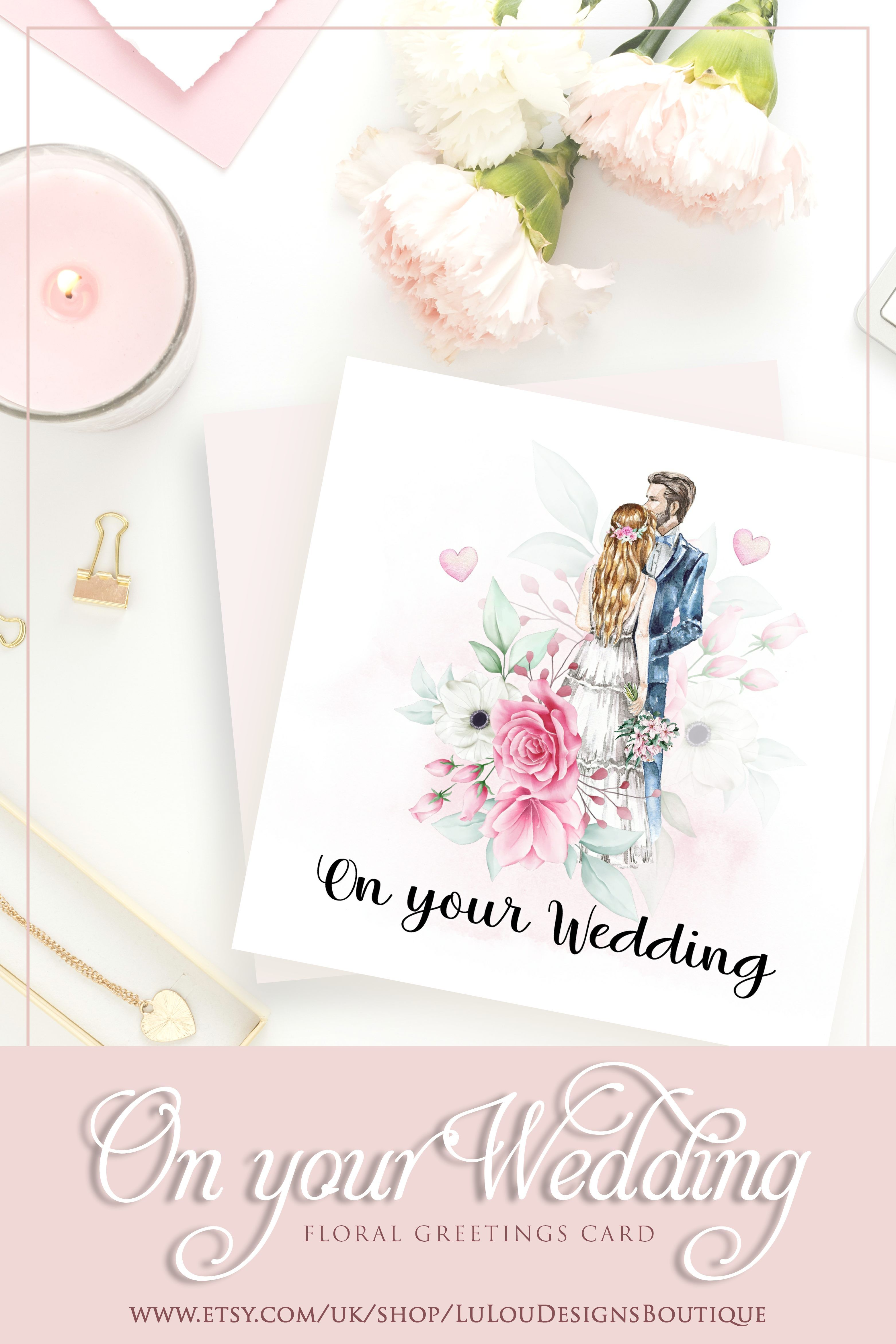 Wedding Gift Card With Watercolor Flowery Graphic And Couple Etsy In 2020 Wedding Gift Cards Wedding Cards Wedding Gifts