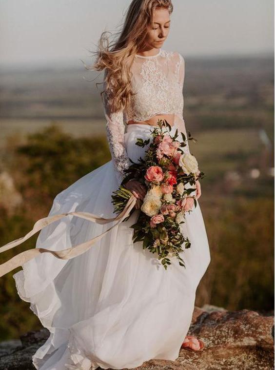 Two Piece Wedding Dresses Boho Wedding Dress Wedding Dress With Sleeves Beach Bridal Dress Wd00192 Lace Beach Wedding Dress Long Sleeve Wedding Dress Lace Top Wedding Dresses