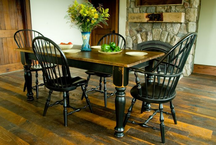 Pine farm table with black distressed base designs in for Kitchen table base ideas