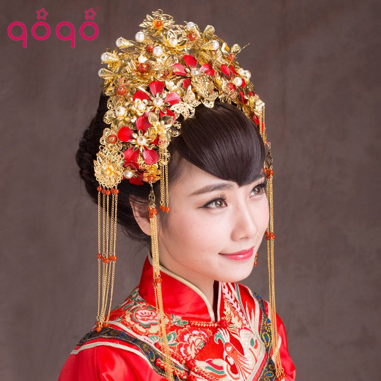 Chinese bridal headdress headdresses veils forehead for Wedding dress shadow box for sale