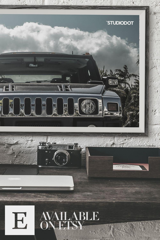 Summer Photography For Print Hummer H3 At Miami Beach Wall Art