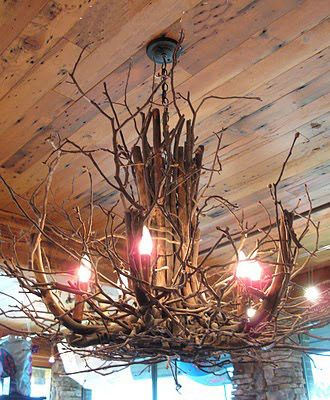 But It S Hard To Clean The Spider Webs Off Though Ea Diy Chandelier Twig Crafts Hmm This Might Inspire An Idea For What Do With Light In Jason