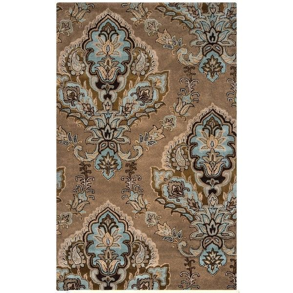 Brown And Blue Damask Area Rug 8x10 650 Liked On Polyvore Featuring Home Rugs Damask Area Rug Wool Area Rugs Wool Area Rugs Area Rugs Brown Area Rugs