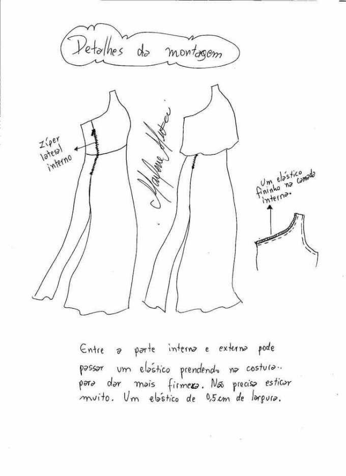 Patrón vestido largo con un solo hombro   vestidos   Patrones ...