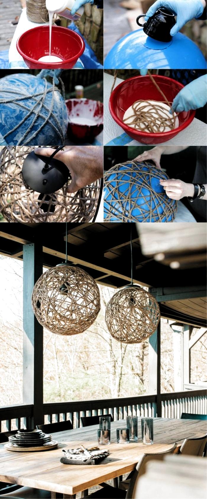 lampen selber machen aus seilen, balon und kleber