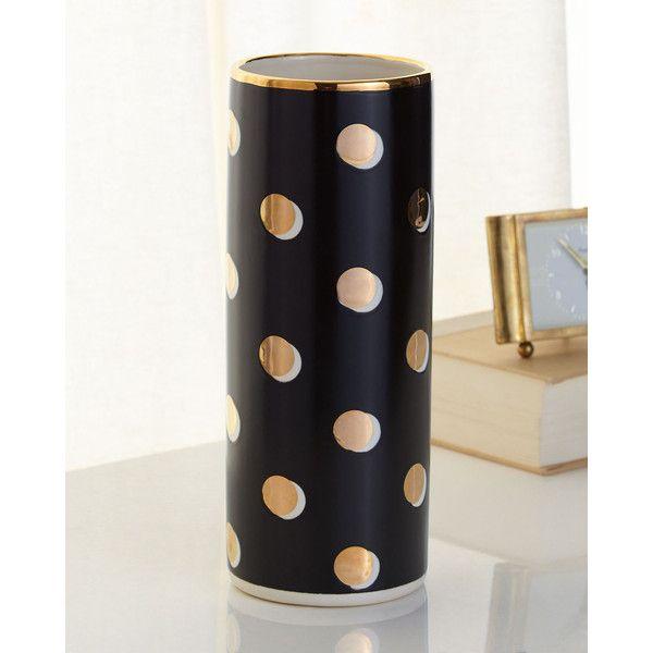 kate spade new york Sunset Street Lux Cylinder Vase ($160) ❤ liked on Polyvore featuring home, home decor, vases, black dots, polka dot vase, black cylinder vase, porcelain vase, cylinder vase and kate spade home decor