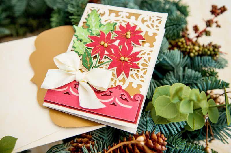 Cricut design space lace poinsettia card envelope