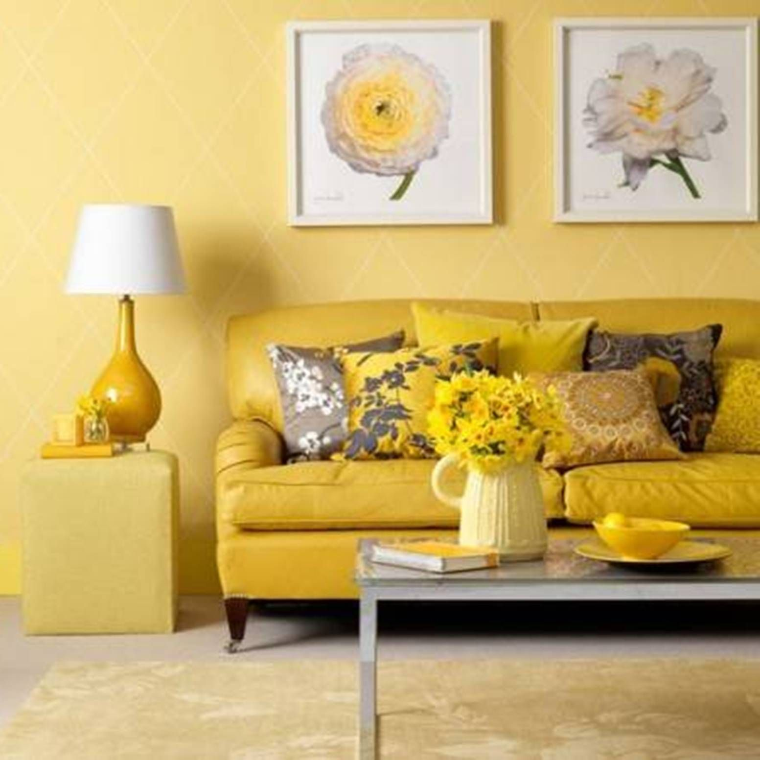 Intense Warm Colour Schemes for Living Rooms | Yellow couch, Paint ...