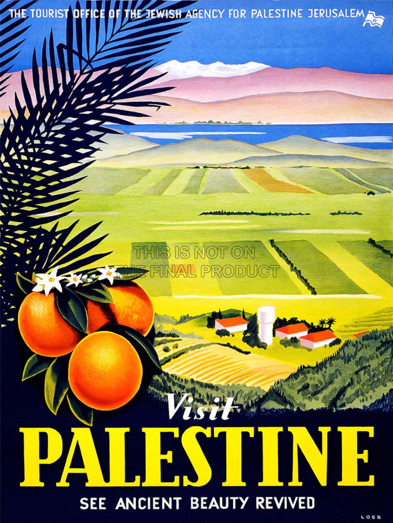 TRAVEL VISIT PALESTINE JERUSALEM ORANGE ISRAEL VINTAGE POSTER ART ...