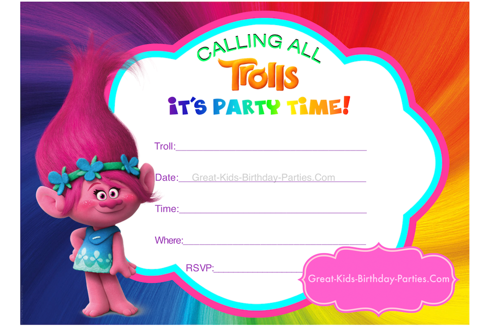 Trust image in trolls birthday invitations printable