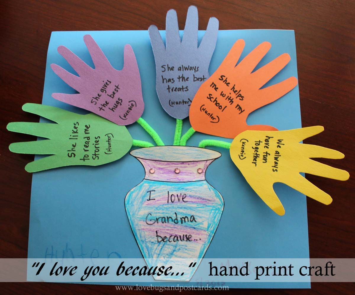 I Love You Crafts Mothers Day I Love You Because Hand Print Craft Hand Print