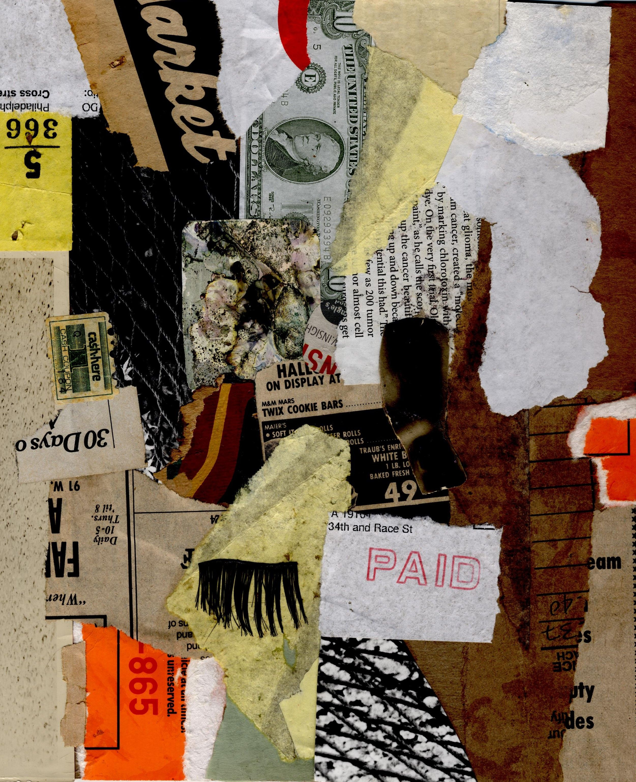 Black Lashes torn paper & found object collage by Donnas Schaeffer