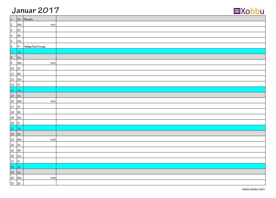 Kalenderübersicht Excel PDF #vorlage #xobbu #printable #calendar ...