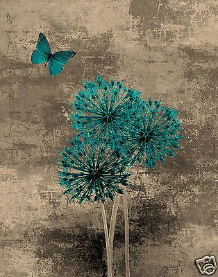 teal brown blue butterfly floral wall art home interior decor matted picture