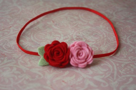 Baby Felt Flower Headband - Pair of Wool Felt Rosebuds in Red and Pink - Newborn to Adult #feltflowerheadbands