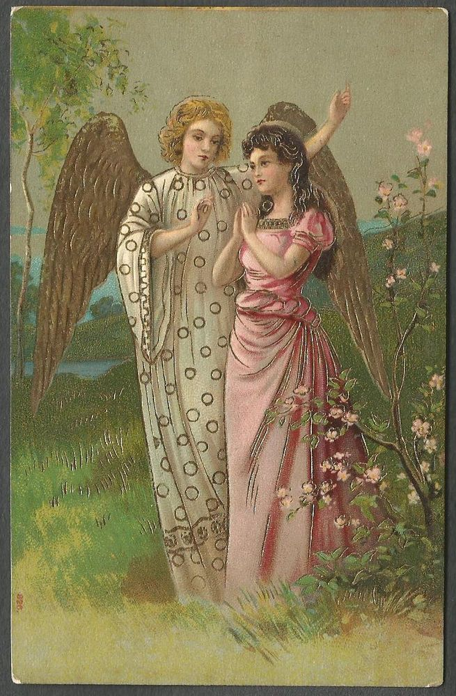 Christmas, Angel with a Praying Young Lady, Beautiful  Old Embossed Postcard  #Christmas