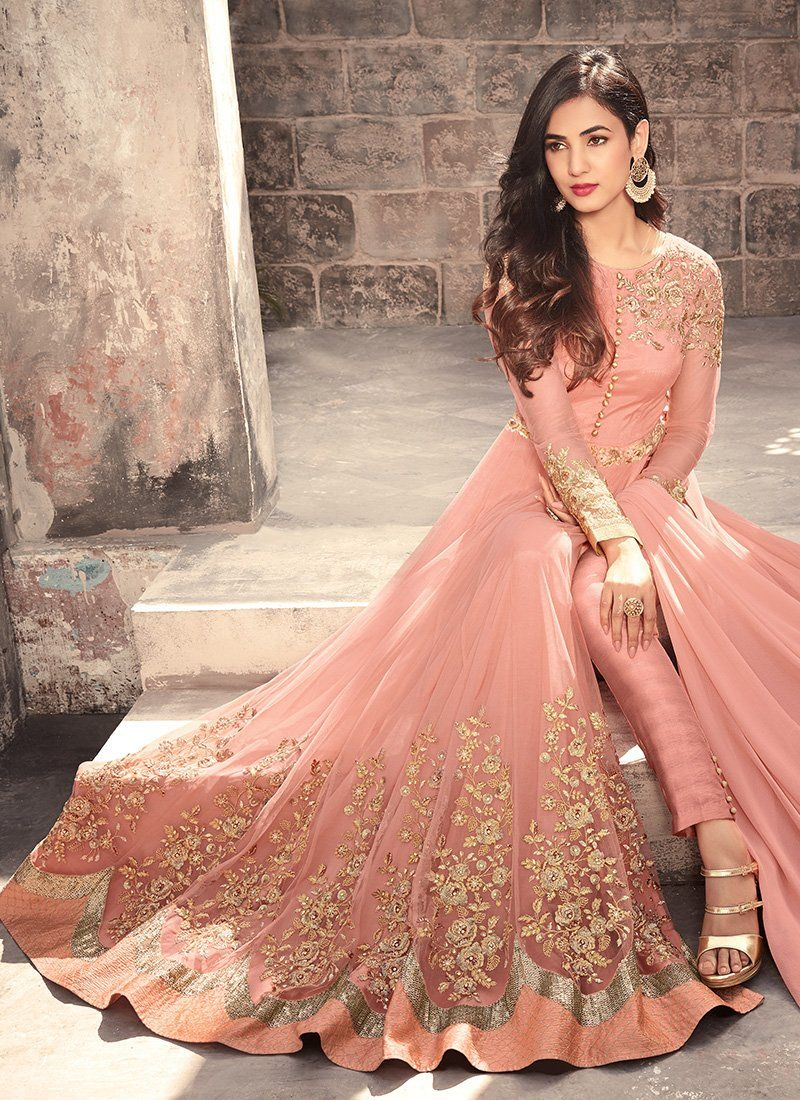 4e8a3a2bc2 Pink embroidered net anarkali suit also peach fabric abaya style in  favorite pinterest rh