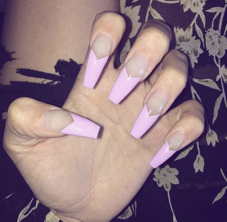 ❥Beautiful Pink long nails | 5. Double Team + Dynamicpunch ...