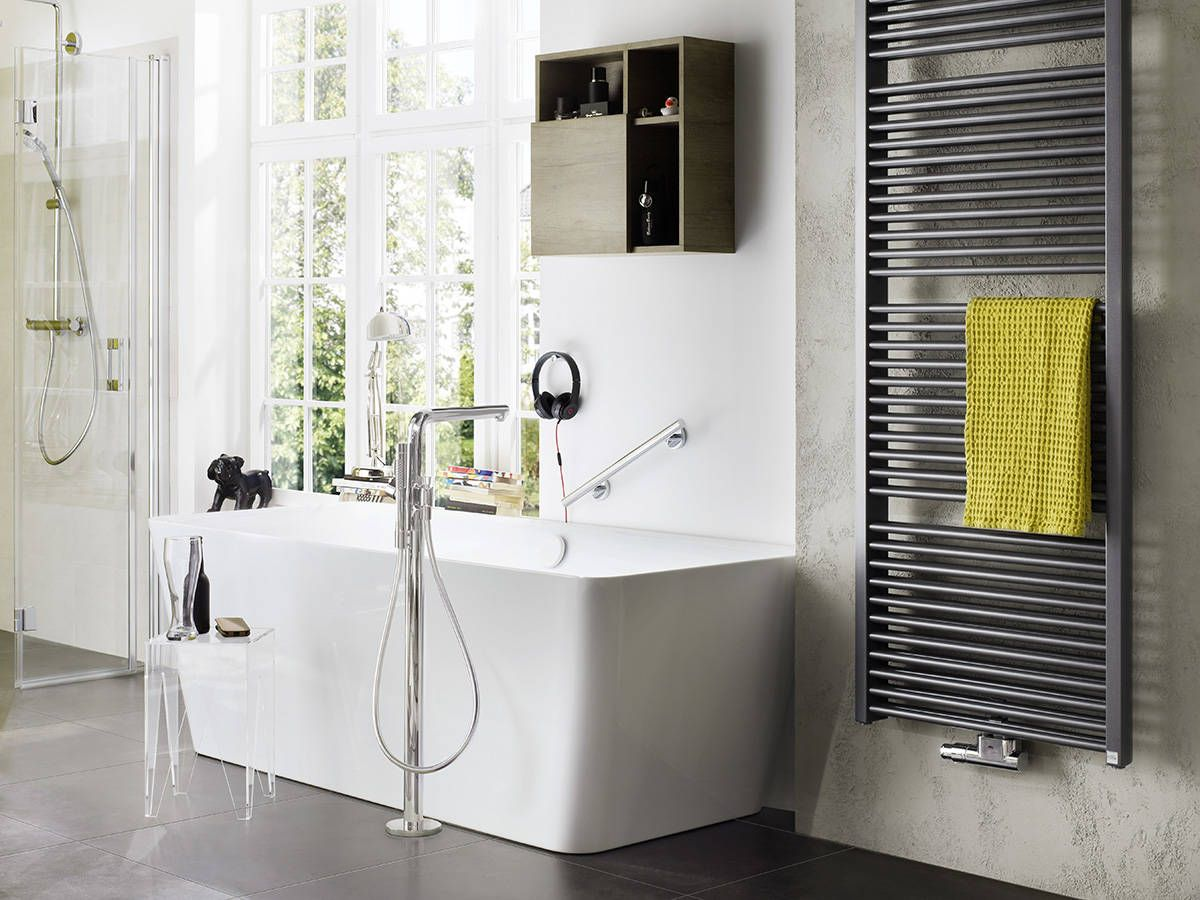 Modern, open bathroom with the hansgrohe Talis S Freestanding tub ...