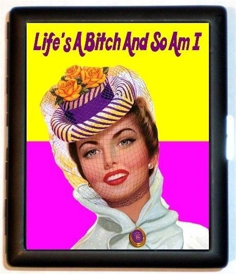 Life is a BiXtch and So Am I Retro Humor Pinup Rockabilly Pin Up Spoof Business Card Id Holder Cigarette Case Wallet. $10.00, via Etsy.