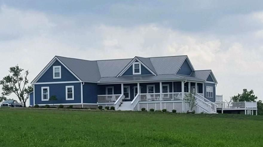Best Dark Blue Siding House Metal Roofing Home Interior 400 x 300