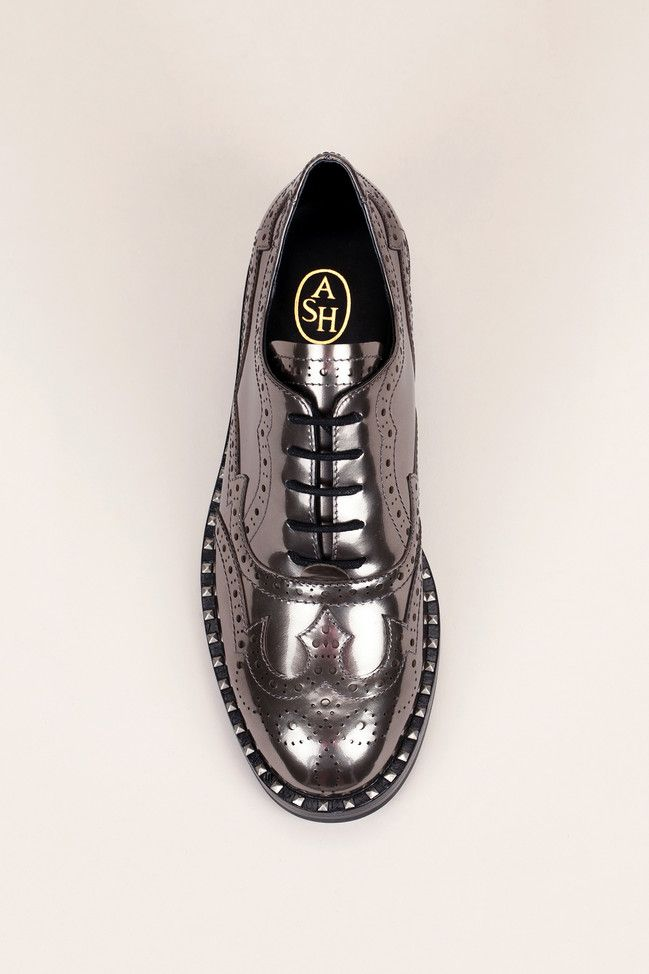 Derbies Cuir Vernis Bronze Perfore Clous Wing Toscano Ash Shoes