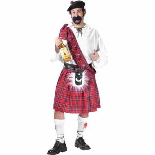Shirt Kilt Scottish Highlander Fancy Dress Up Halloween Deluxe Adult Costume