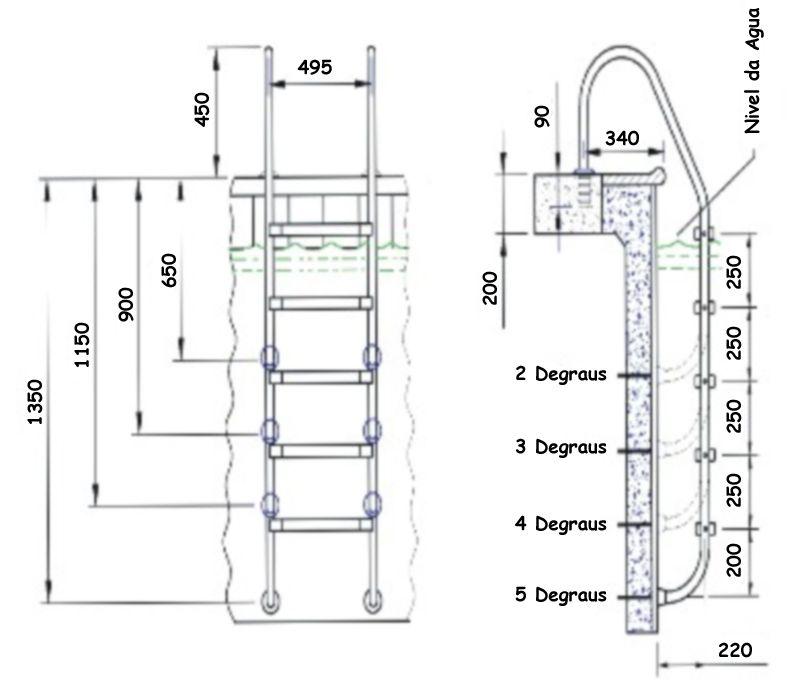 Escada para Piscina - Aço Inox 304 - 3 degraus em ABS - SOS da Piscina