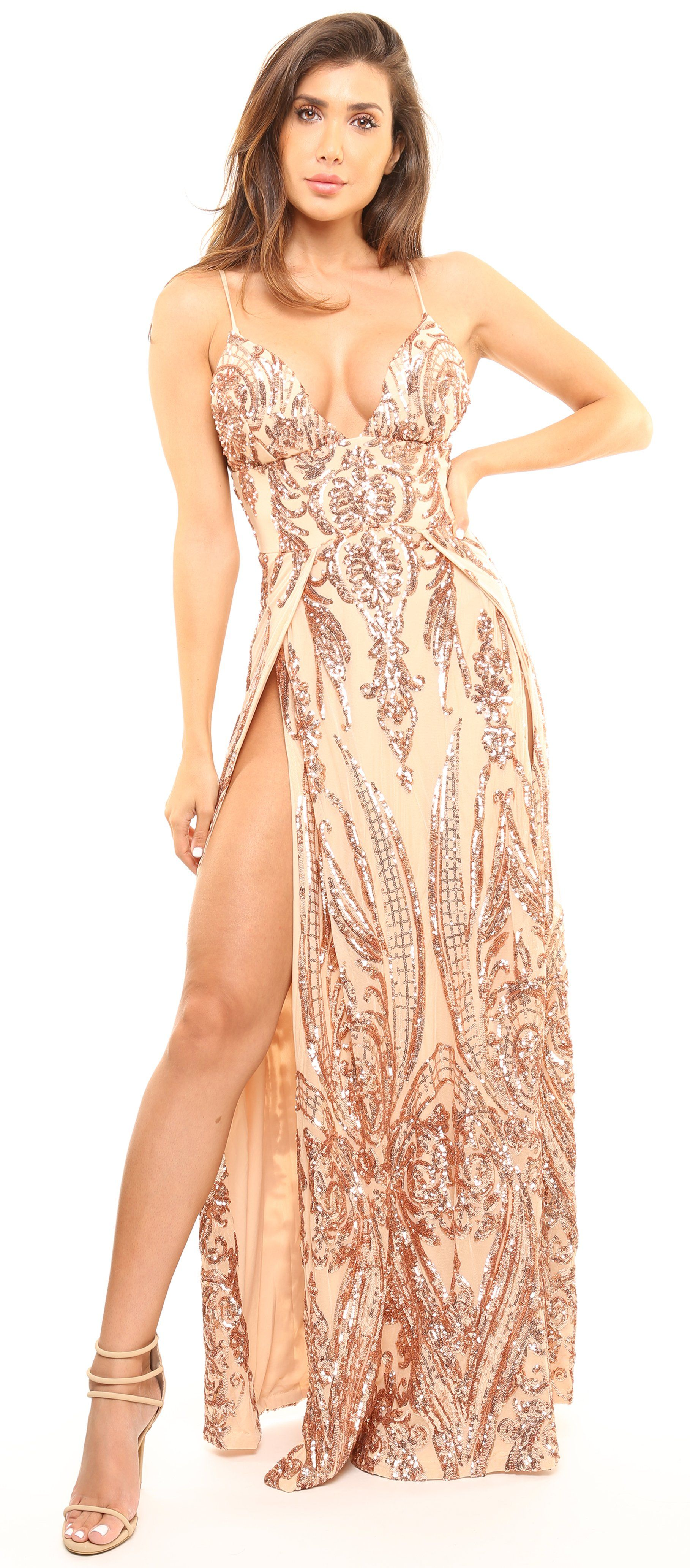 d57e34c7a4 Nouri Rose Gold Nude Double Slit Maxi Dress | Products | Maxi dress ...