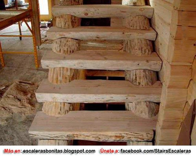 Escaleras r sticas manualidades y decoracion pinterest for Ideas para hacer escaleras interiores