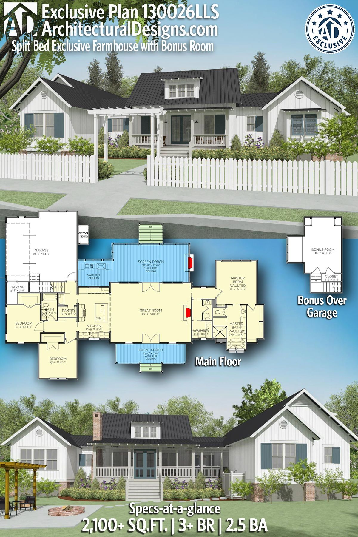 Plan 130026lls Split Bed Exclusive Farmhouse With Bonus