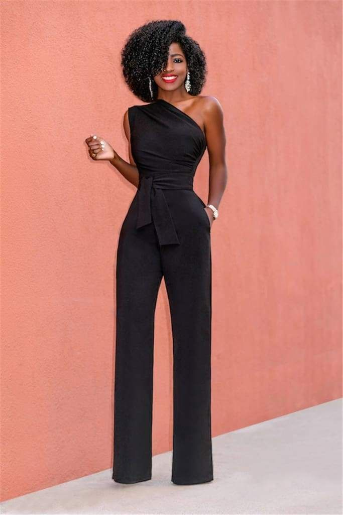 Photo of Off Shoulder Casual Jumpsuits Wide Leg Pants