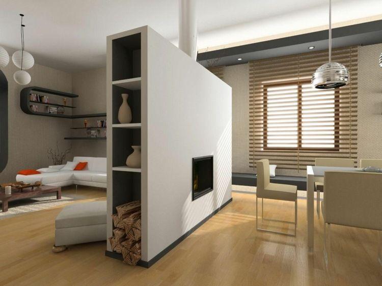 Eine Kamin Idee Mit Regal Als Trennwand Kamin Pinterest - Trennwand wohnzimmer
