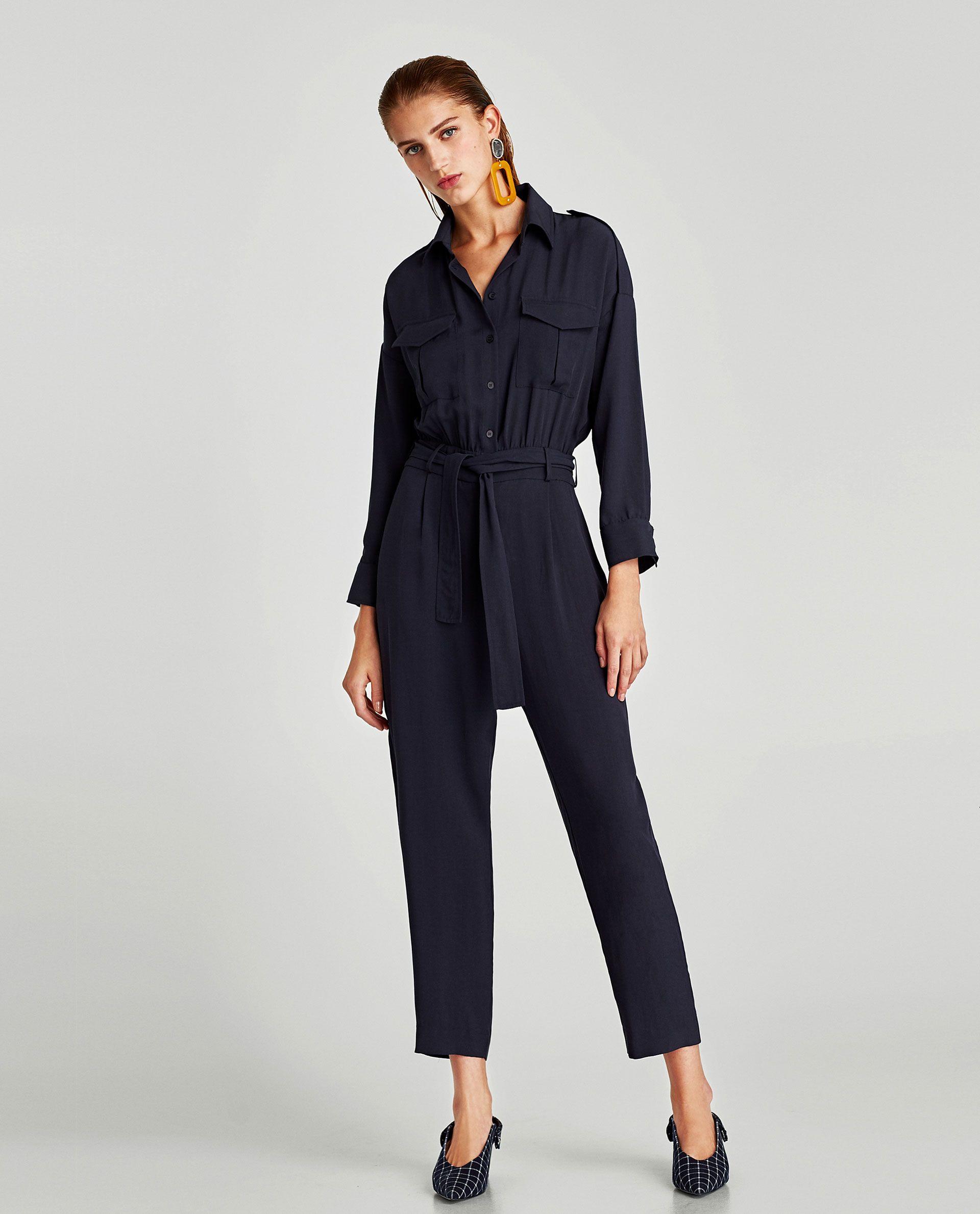 11d06047051c Zara navy blue belted crepe long sleeved jumpsuit