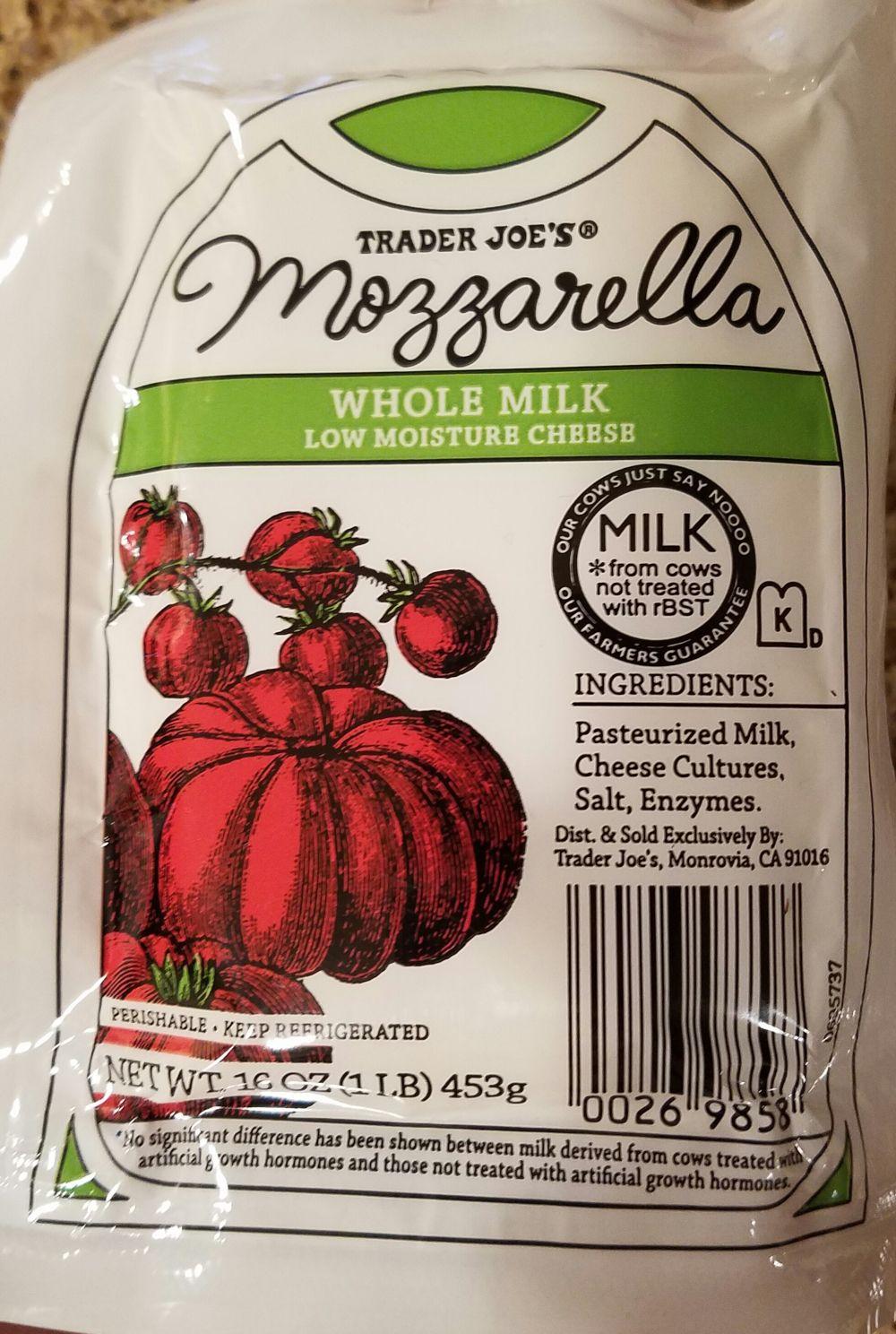 Trader Joe S Mozzarella Whole Milk Low Moisture Cheese Whole Milk Trader Joes Cheese Cultures