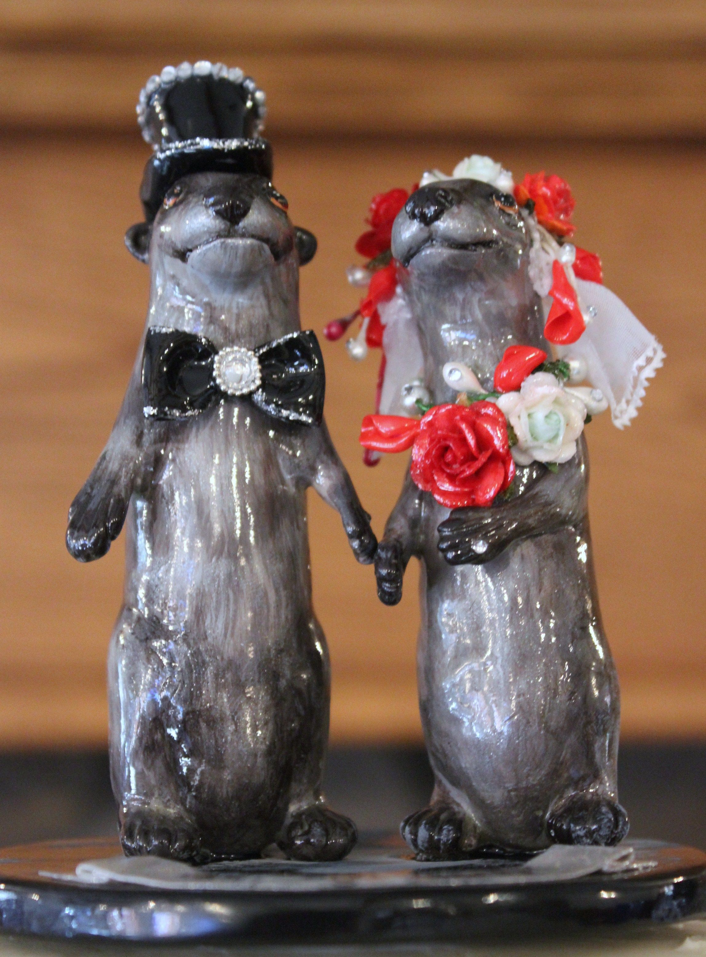Otters wedding topper cake topper bride and groom ...