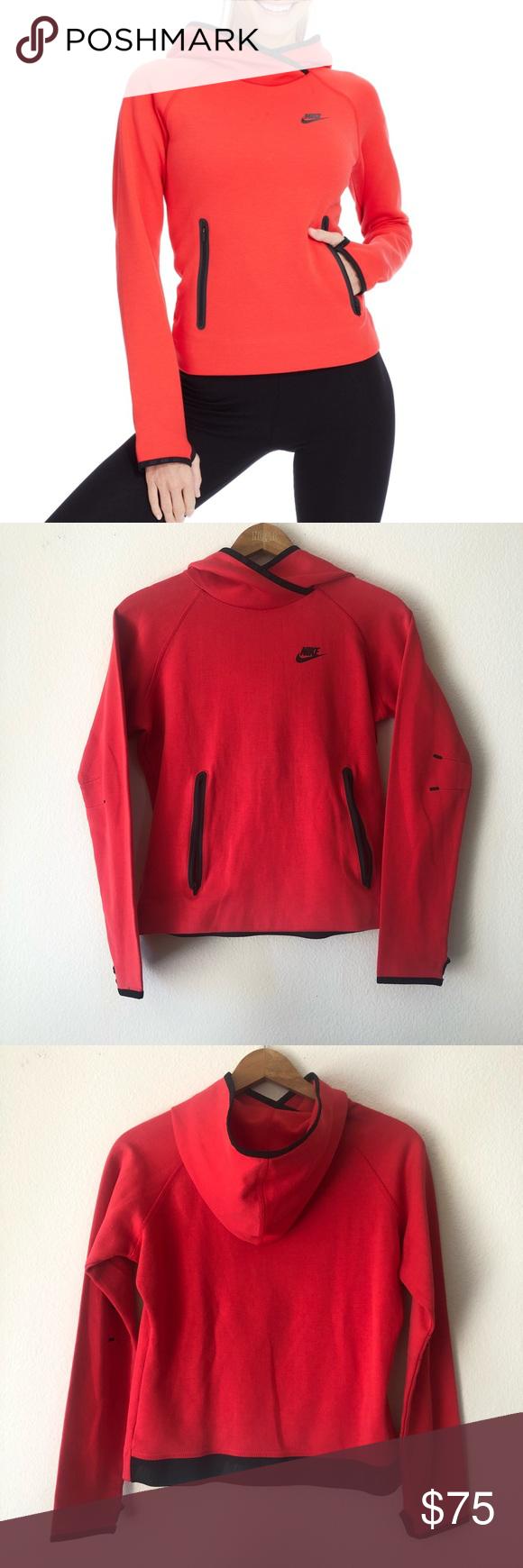Nike Tech Fleece red & black hoodie Nike Tech Fleece
