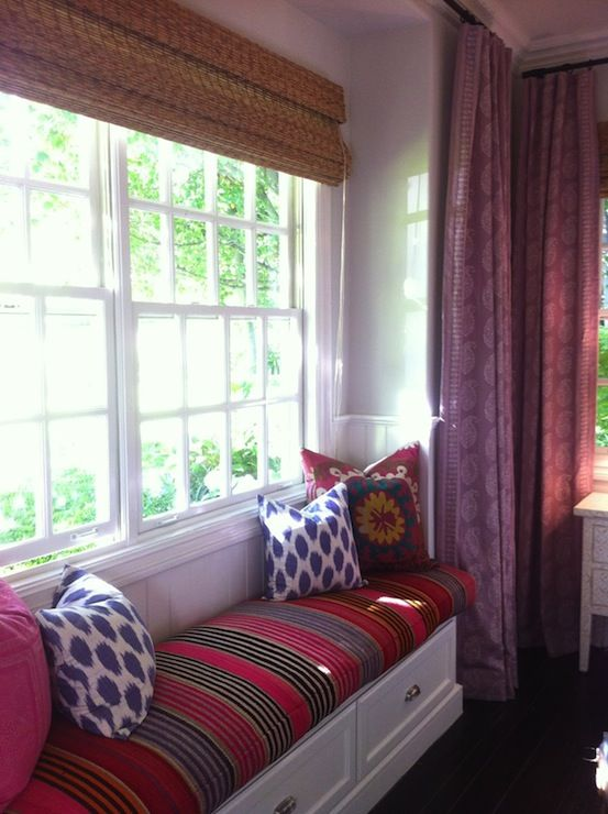 Amber Interiors   Chic Bedroom With Plum Paisley Window Panels Curtains,  Built In White