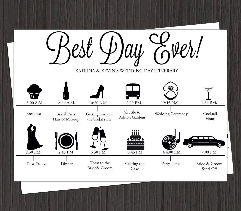 Wedding Day Itinerary Printable Wedding Day Timeline