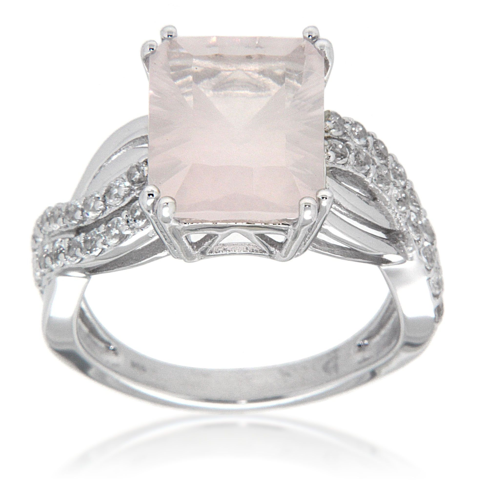 Bliss Collection Rose Quartz and White Topaz Sterling Silver Fashion Ring