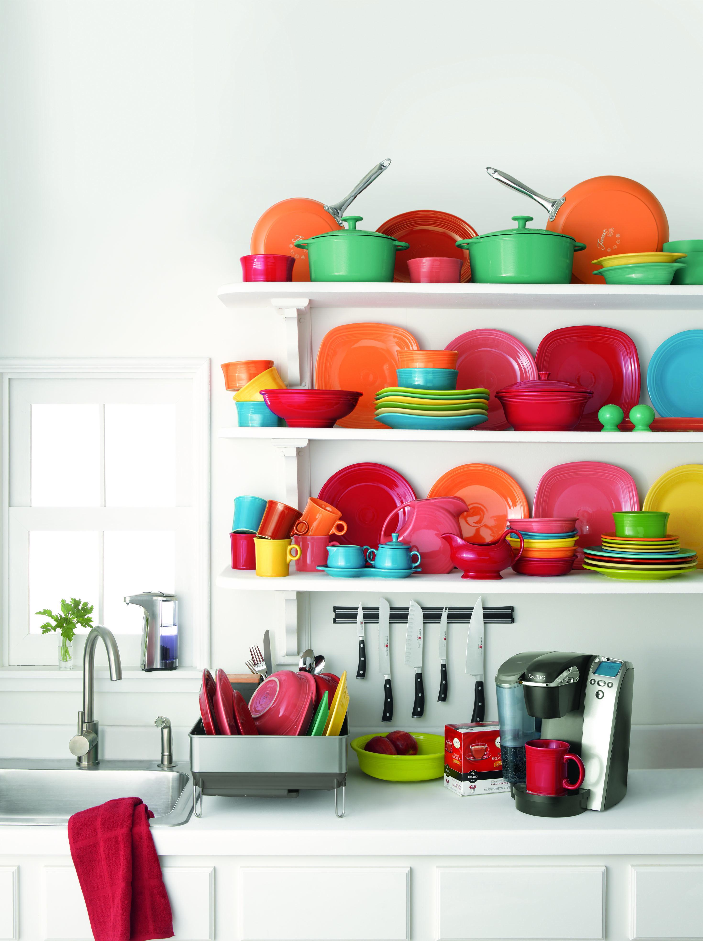Bright Fiesta Dinnerware Would Look Great In The Open Cabinet.